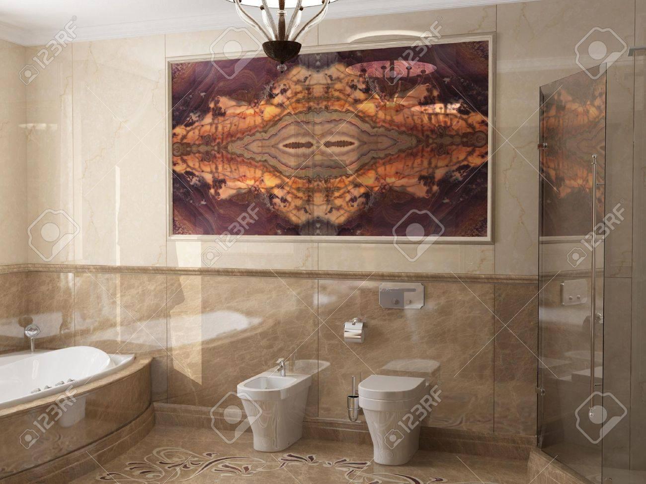 Interior the bathroom in classic style Stock Photo - 19737094
