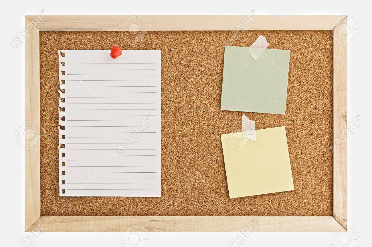 Cork Pin Board  with a sheet of paper, post it notes, and thumbtacks. Stock Photo - 3429047
