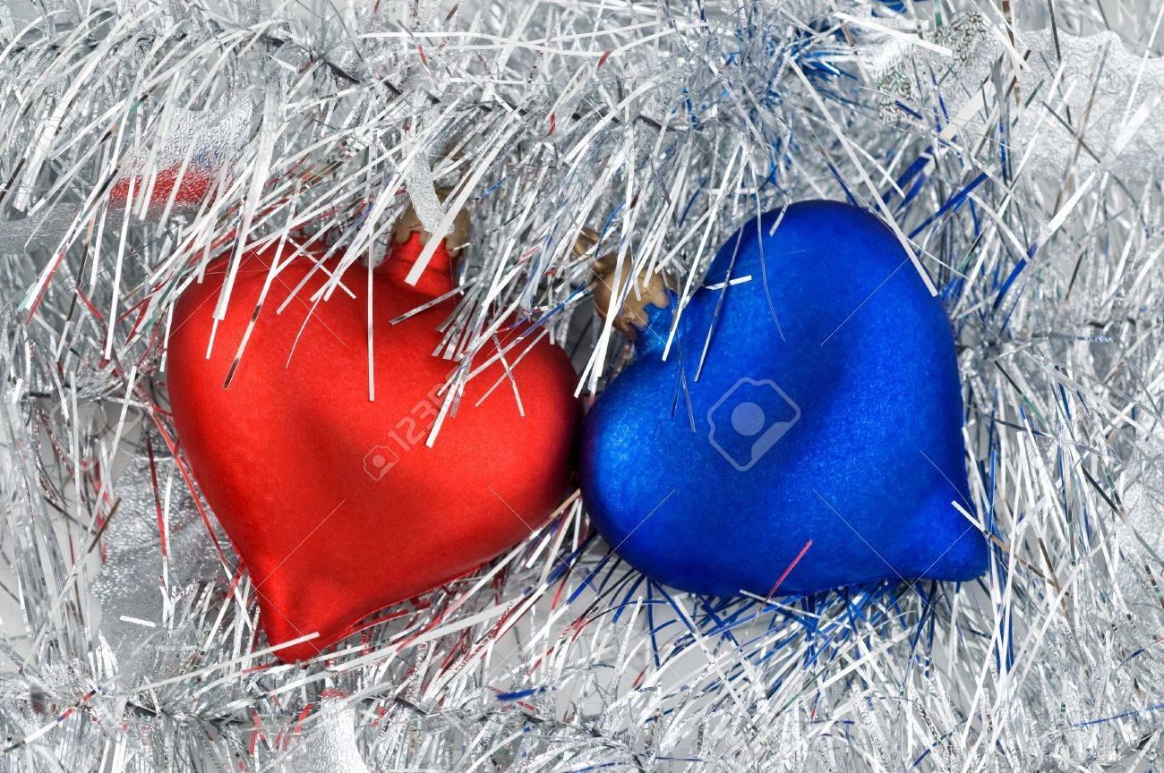 Red white and blue christmas ornaments - Christmas Red And Blue Heart Ornaments On White Background Stock Photo 3862130