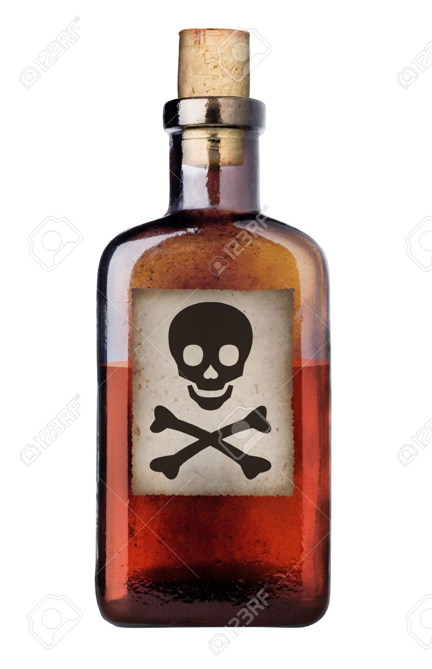 Poison bottle with warning sign in label Stock Photo - 7919045