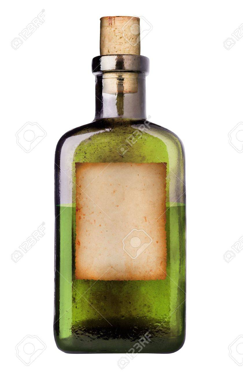 Old Fashioned Drug Bottle With Label Stock Photo Picture And