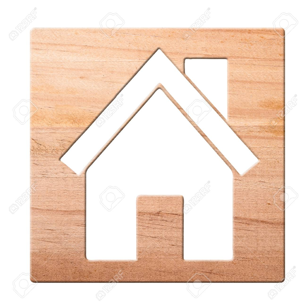 House icon  carved in of wood, isolated Stock Photo - 8661990