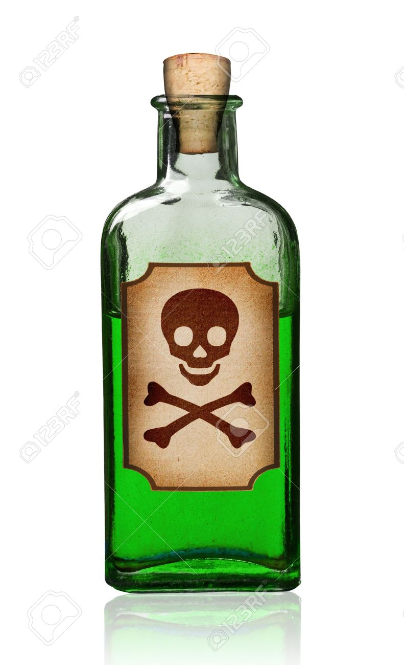Old Fashioned Poison Bottle With Label Isolated Clipping Path