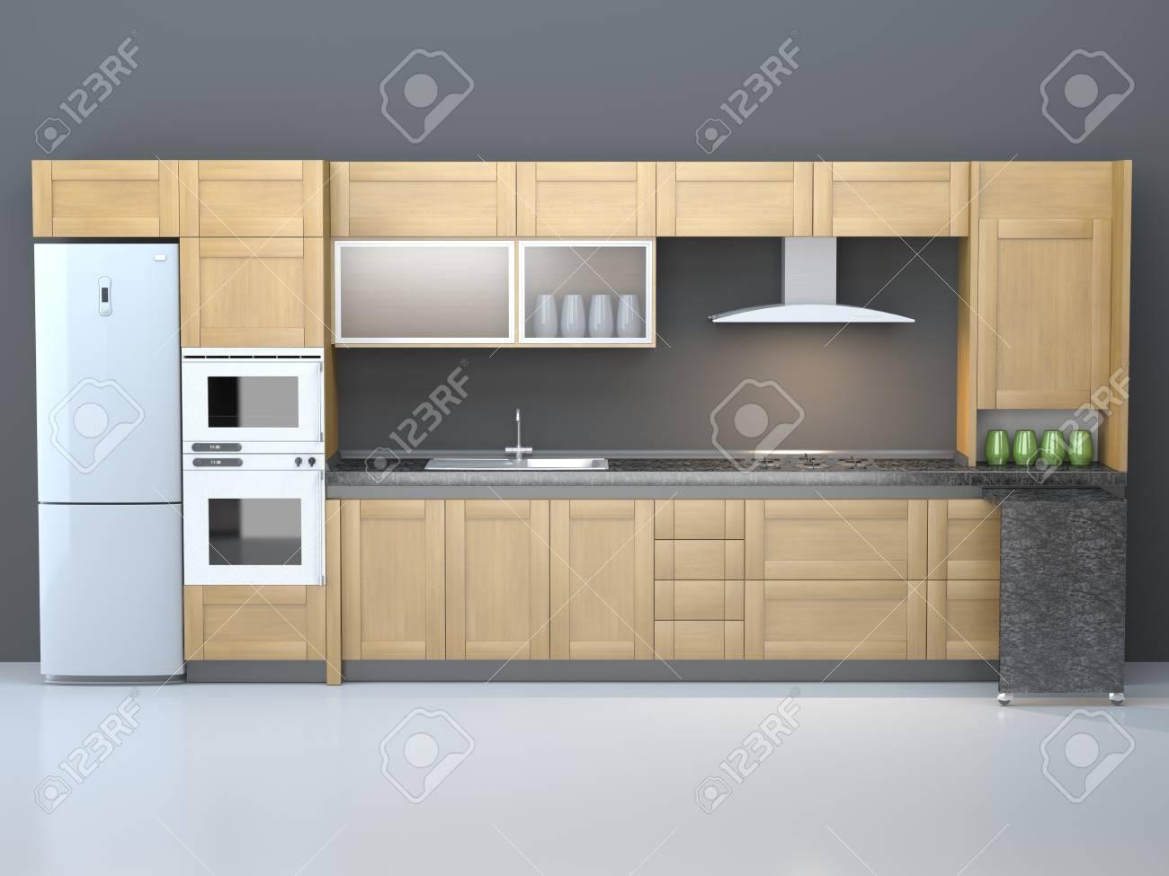 Muebles de cocina integral dentro de una habitación pura.