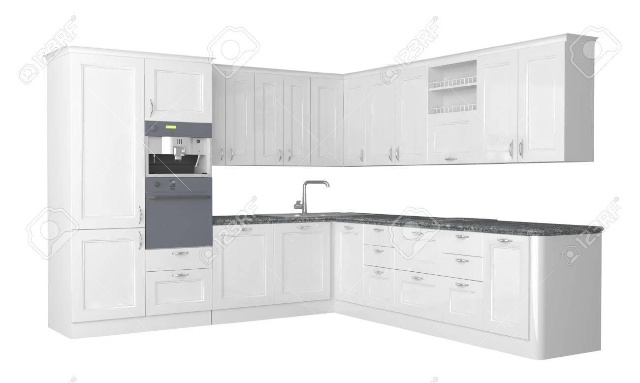 White Kitchen Furniture integral kitchen furniture on white background. stock photo