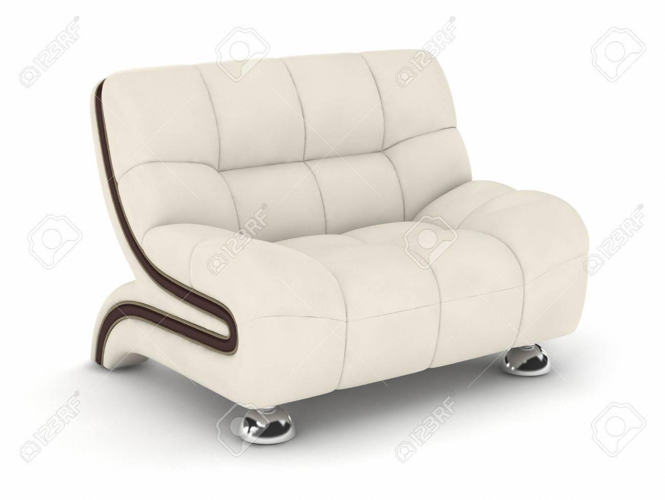 Single Leather Sofa On White Background. Stock Photo   33660742