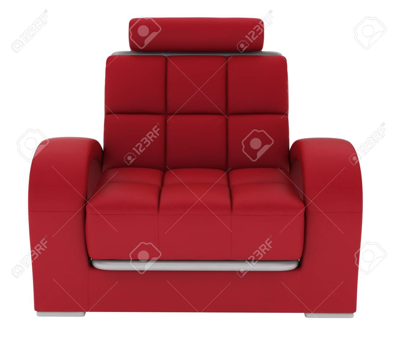 single leather sofa on white background.