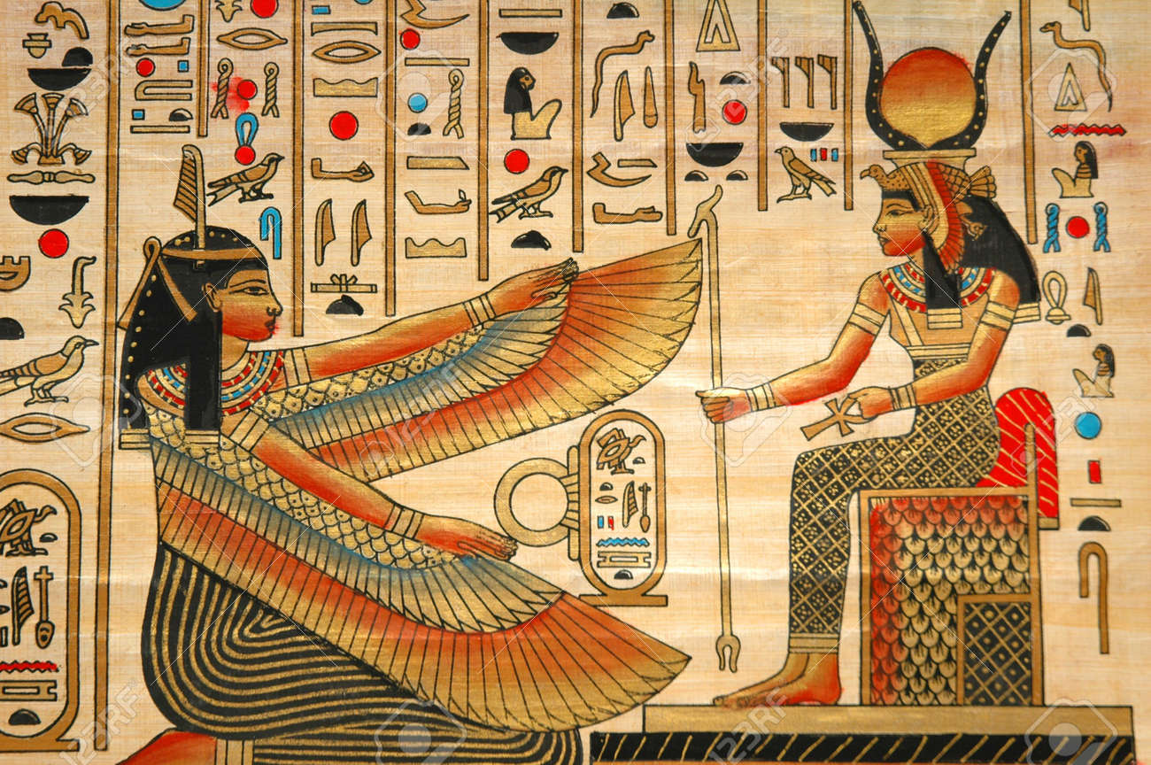 Papyrus with elements of egyptian ancient history Stock Photo - 560946