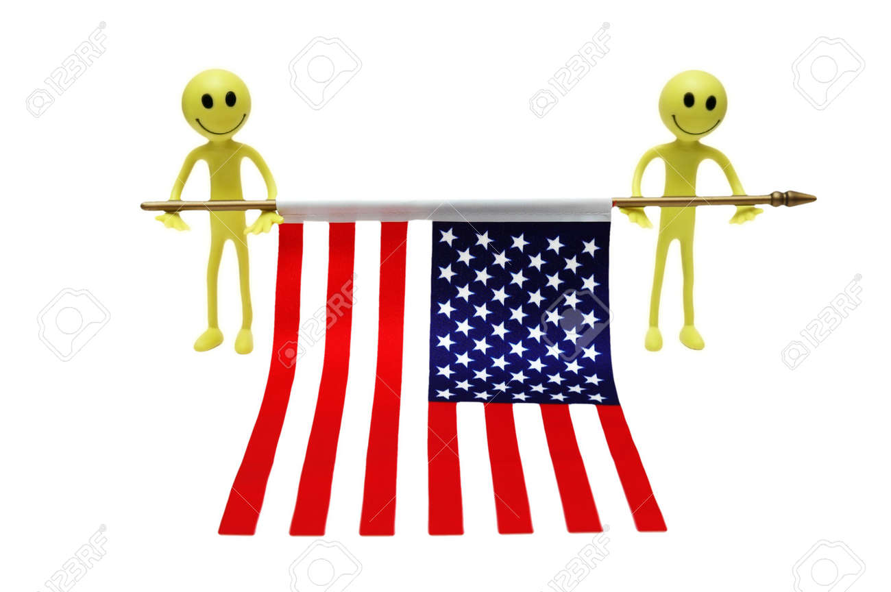 Two smilies holding US flag Stock Photo - 602888