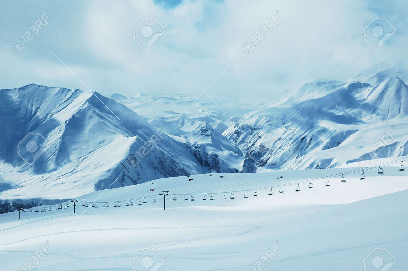 Mountains under snow in winter - Georgia, Gudauri Stock Photo - 647129