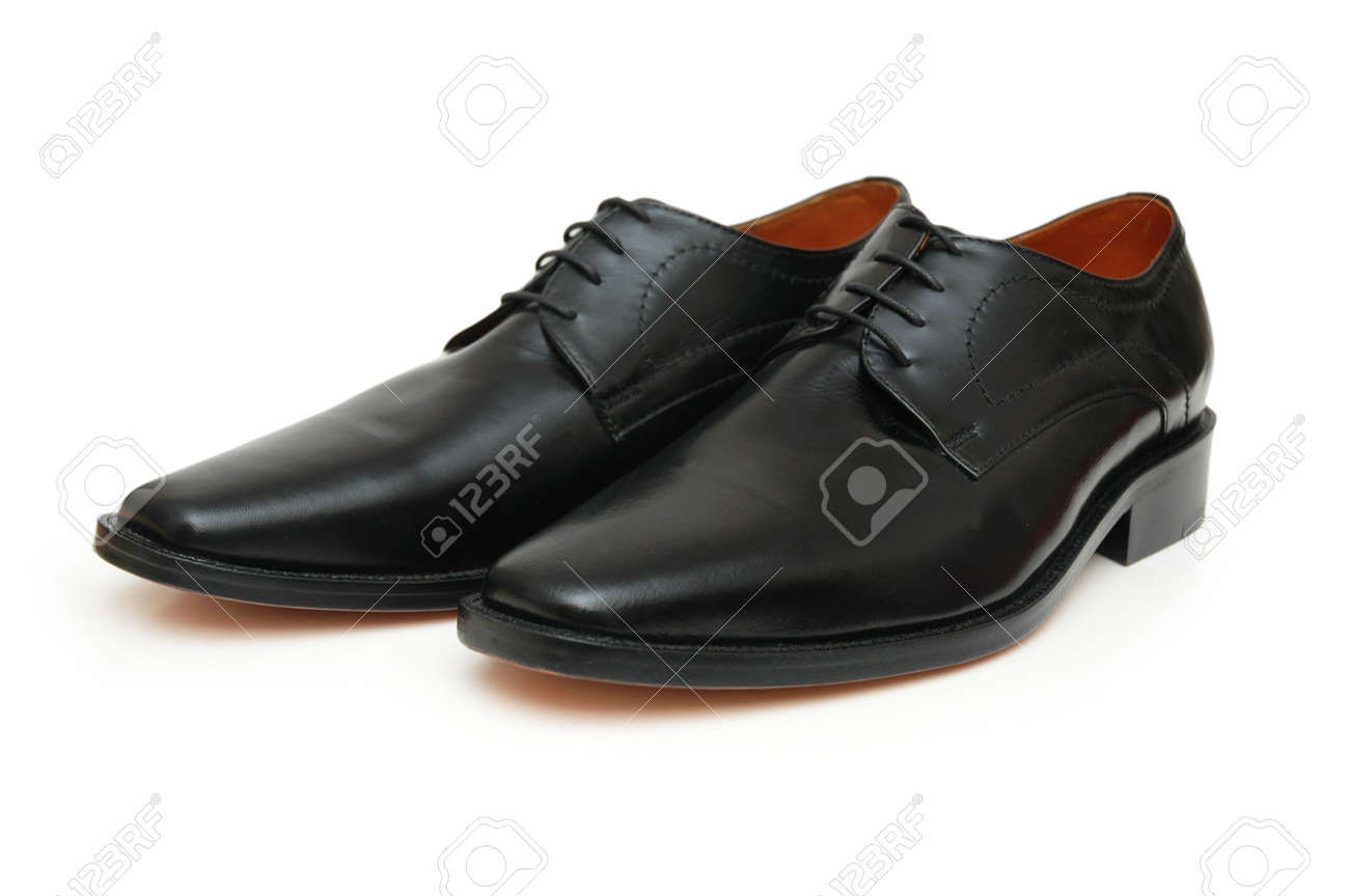 Pair of black male shoes isolated on white Stock Photo - 647022