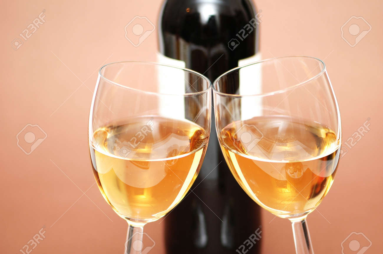Two wine glasses and a bottle a wine Stock Photo - 765108