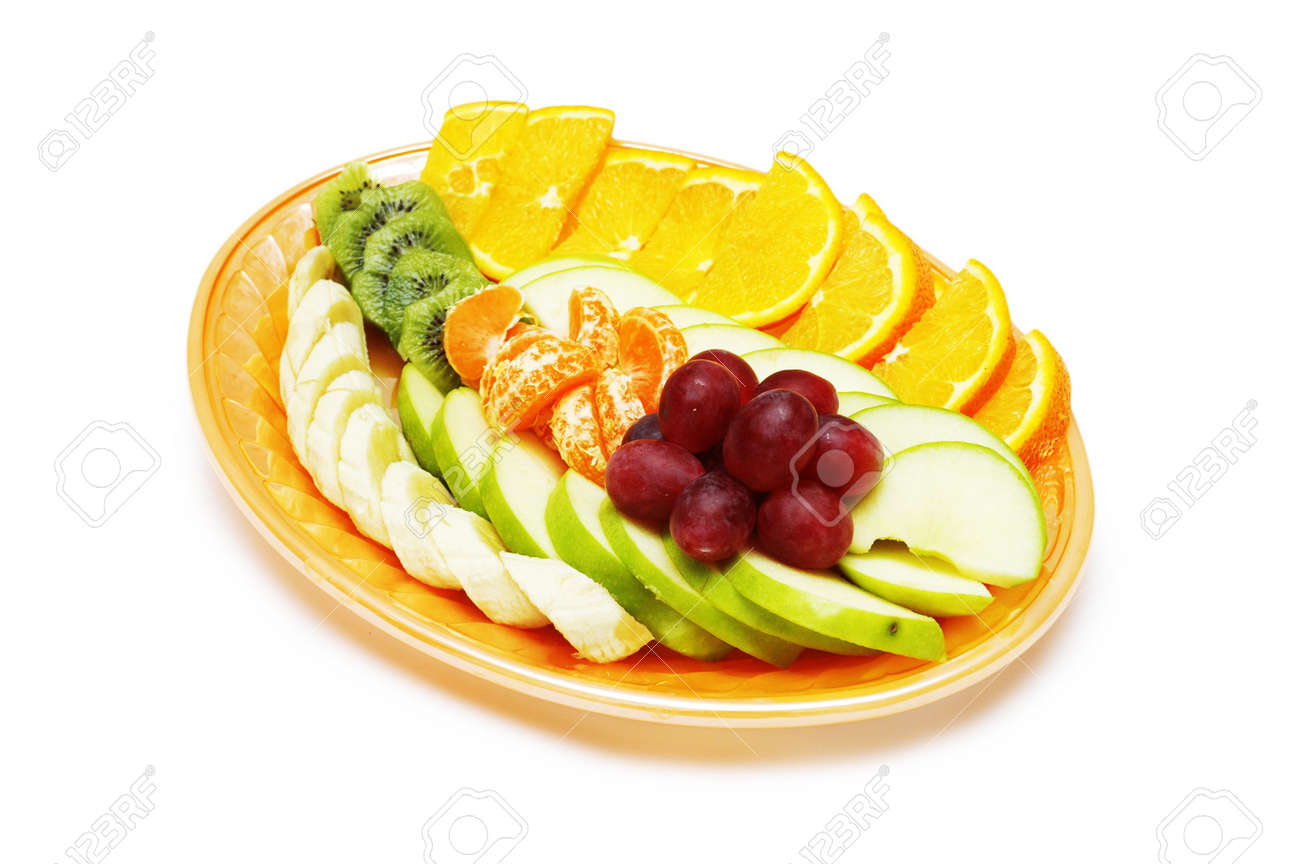 Fruit salad in the plate isolated on the white Stock Photo - 778881