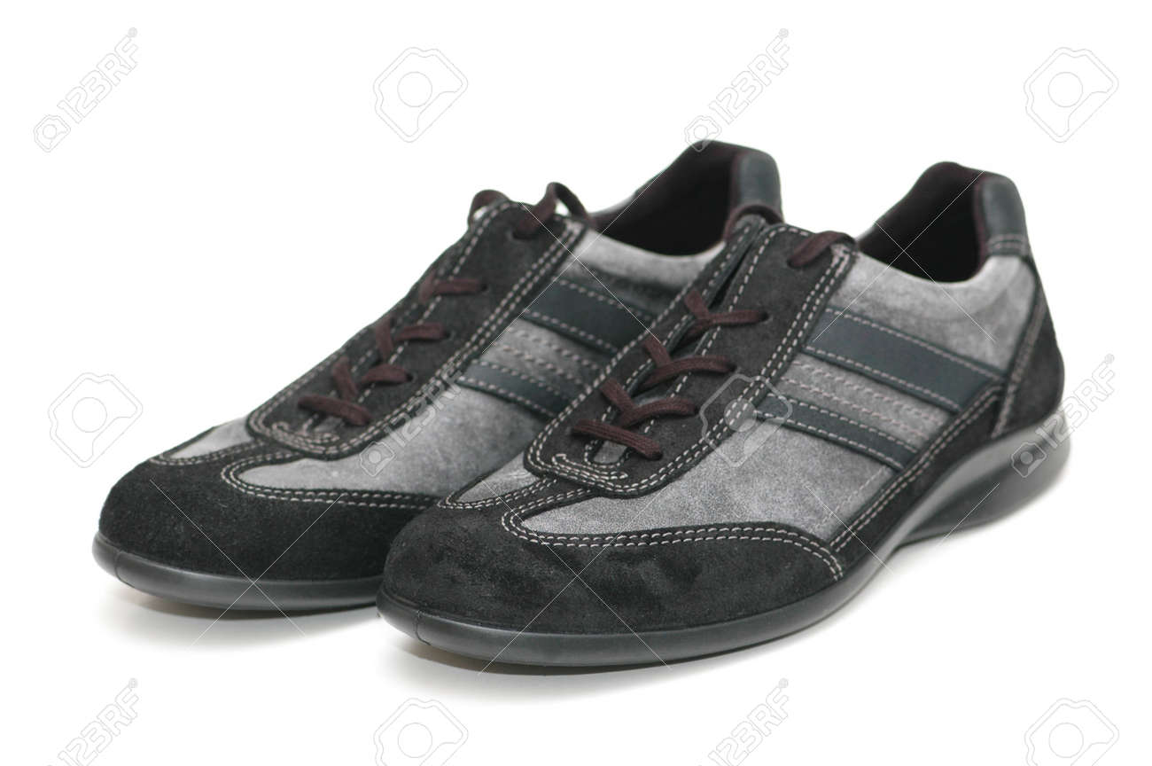 Grey sporty shoes isolated  on the white Stock Photo - 846699