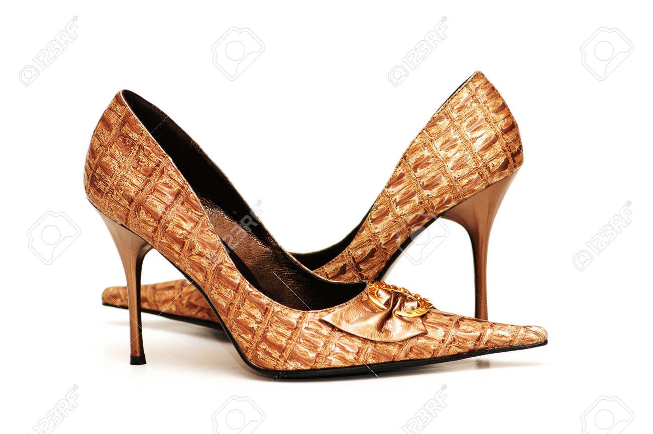Pair of shiny female shoes isolated  on white Stock Photo - 846697
