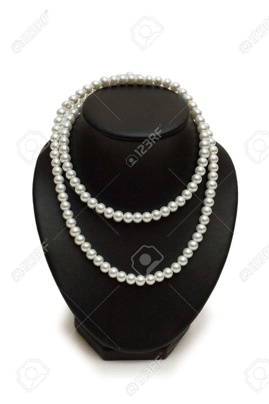 Pearl necklace on the stand isolated on white Stock Photo - 1987461