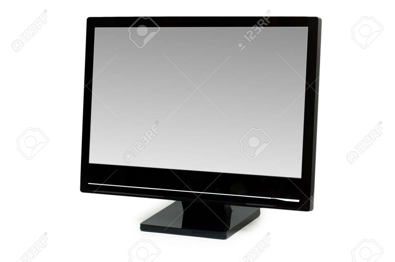 Black lcd monitor isolated on the white Stock Photo - 2820486