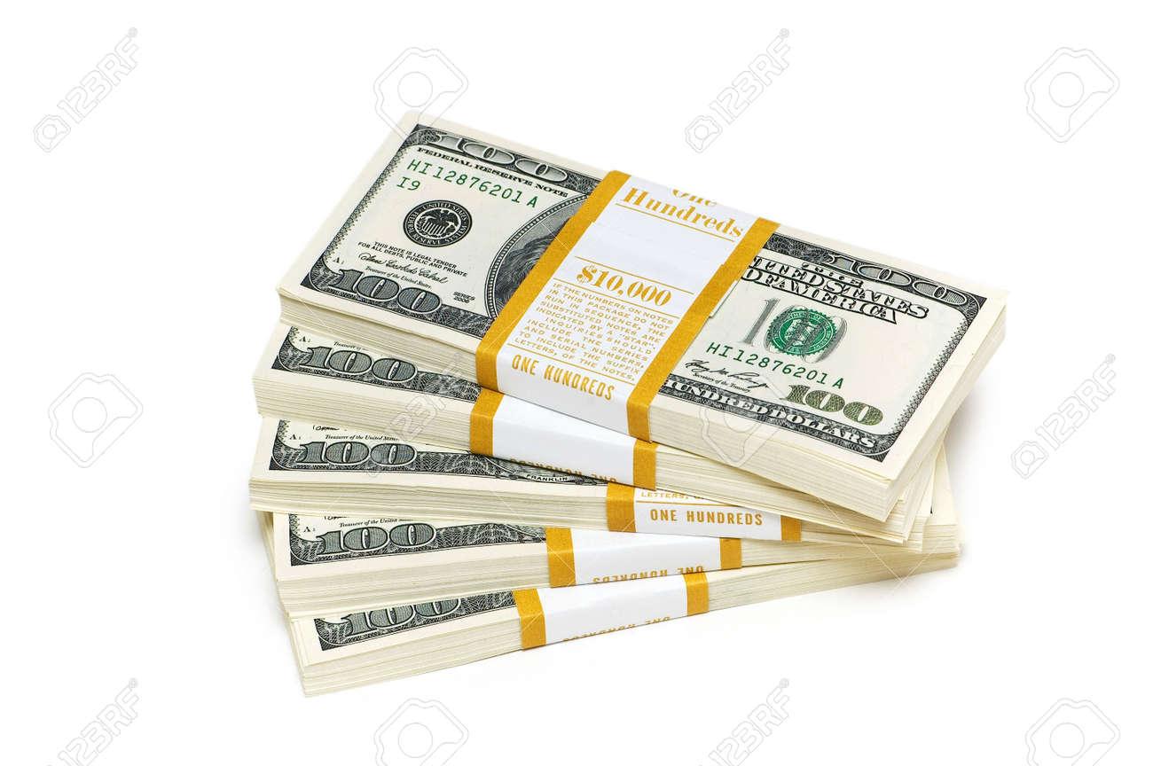 Ten thousand dollar stacks on the white Stock Photo - 2822741
