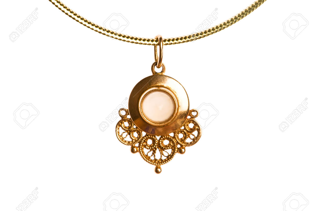 Pendant on golden chain isolated on the white Stock Photo - 3874388