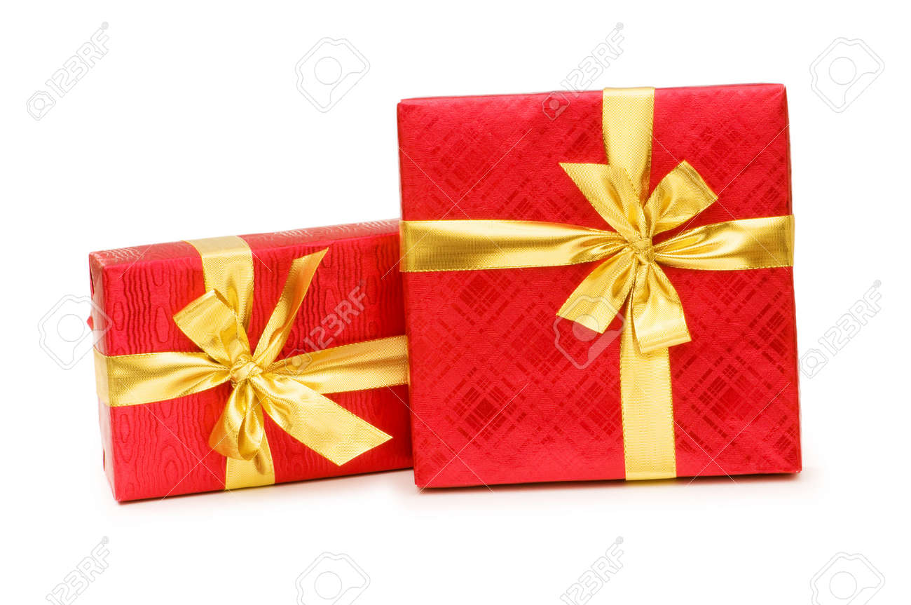 Gift boxes isolated on the white background Stock Photo - 3965564