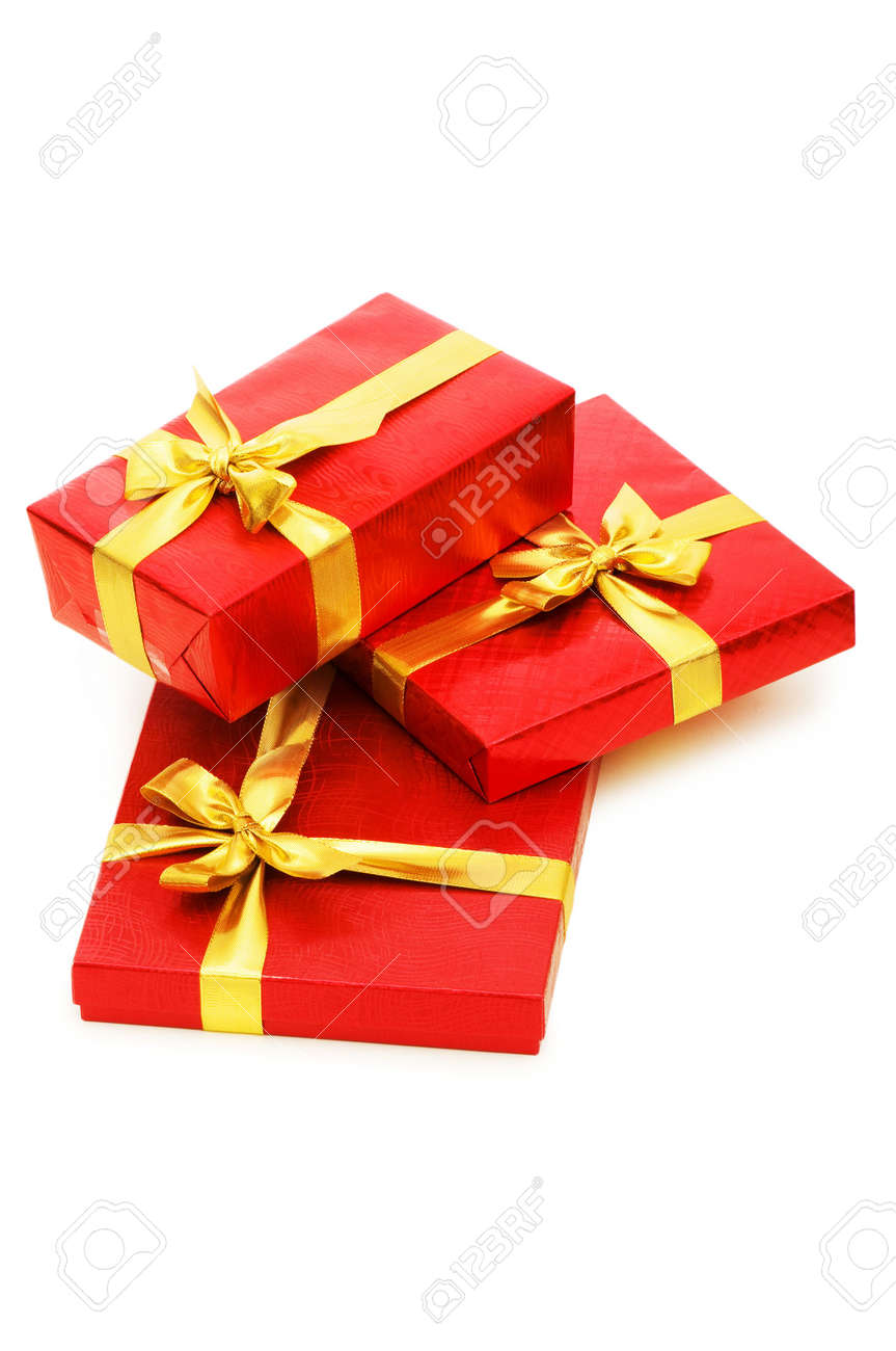 Gift boxes isolated on the white background Stock Photo - 5282652