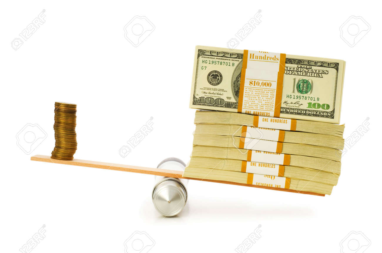 Financial concept - balance between coins and paper money Stock Photo - 5348985
