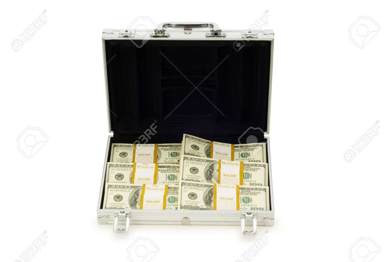 Metal case and lots of dollars on white Stock Photo - 5398653