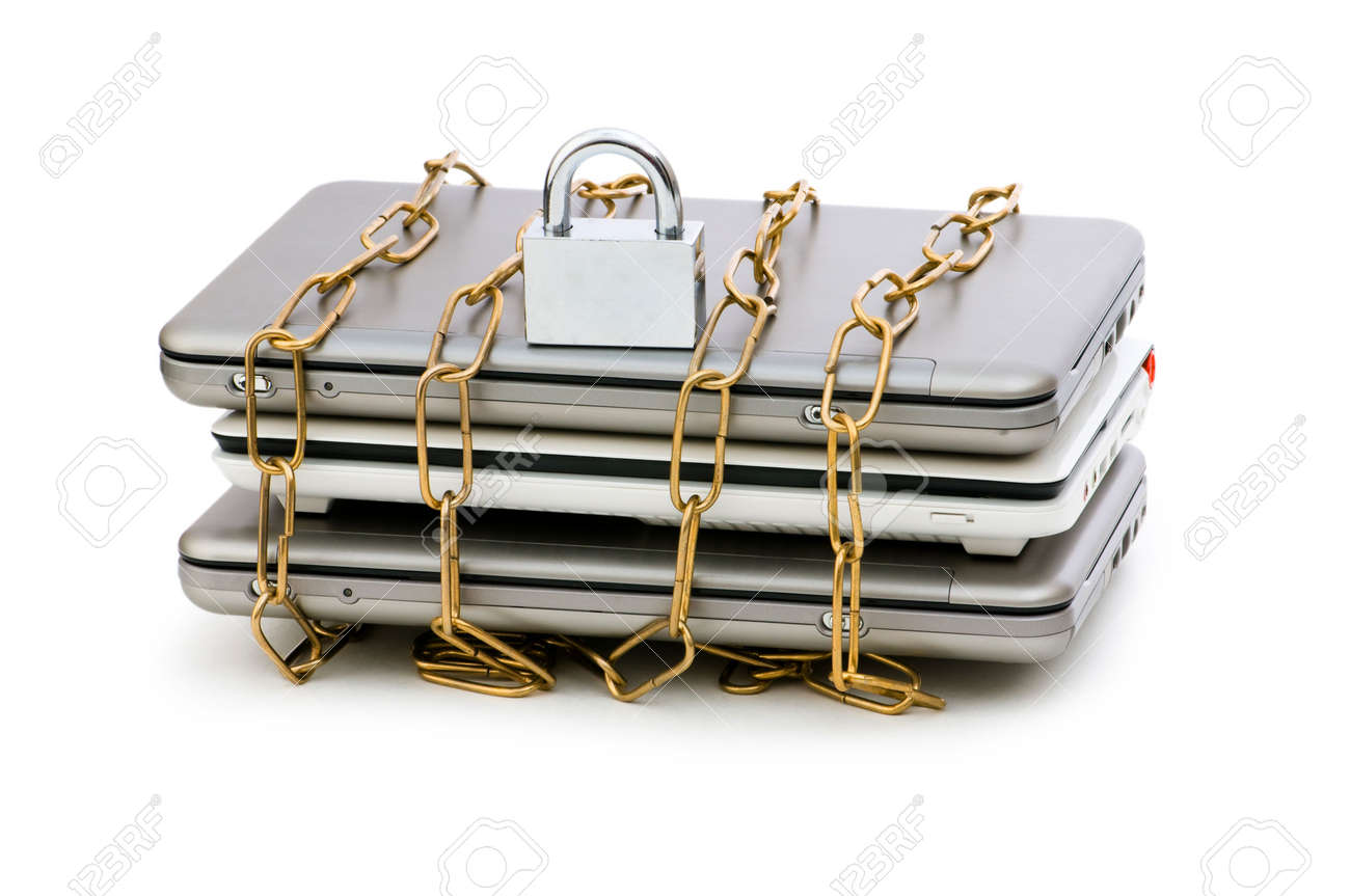 Concept of computer security with laptop and chain Stock Photo - 6255537