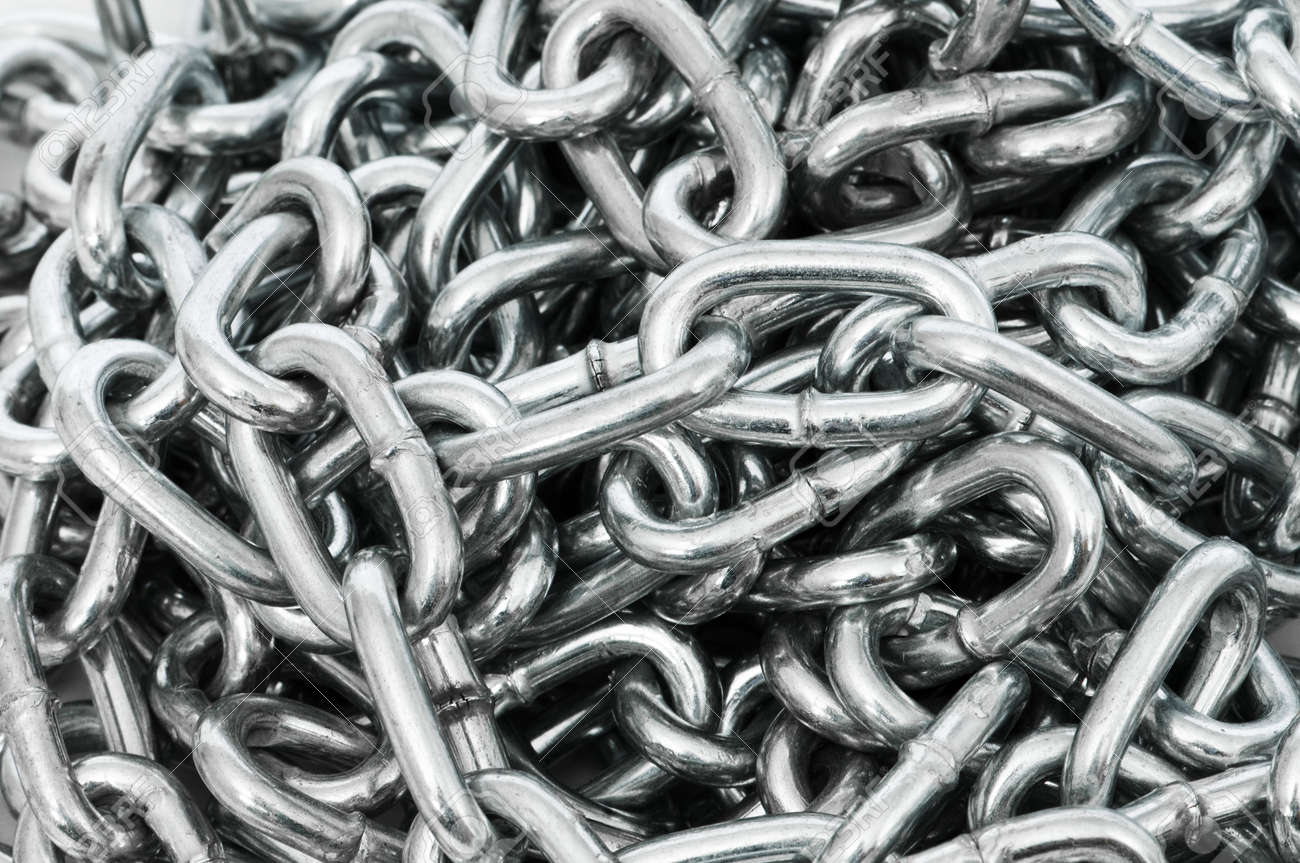 Long silver chain arranged as the background Stock Photo - 6313864