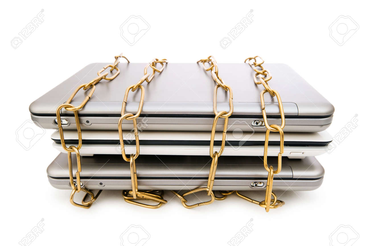 Concept of computer security with laptop and chain Stock Photo - 6511419