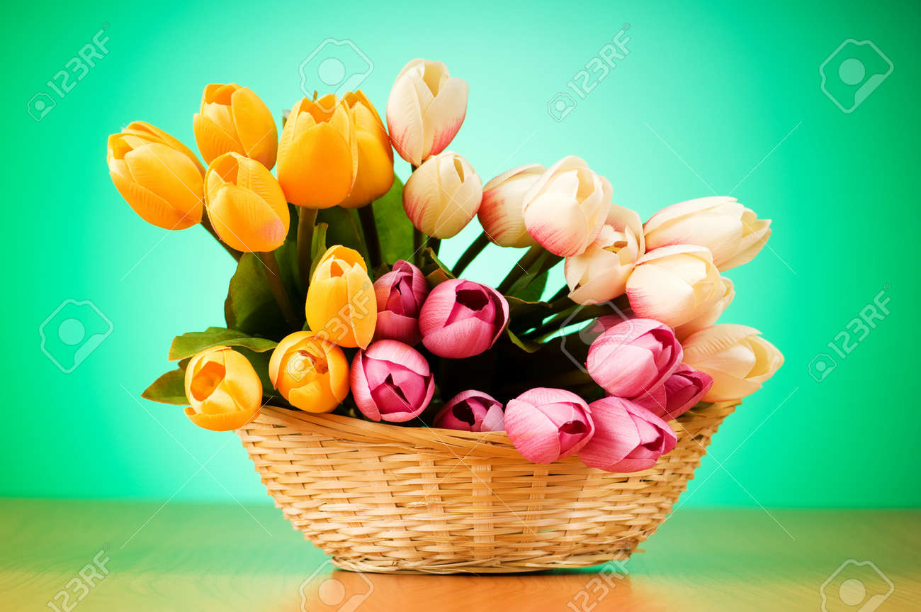 Bunch of tulip flowers on the table Stock Photo - 7597583