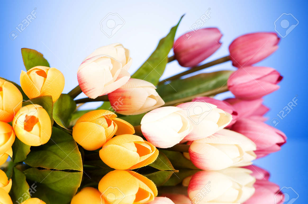 Bouquet of colorful tulips on the table Stock Photo - 7597520