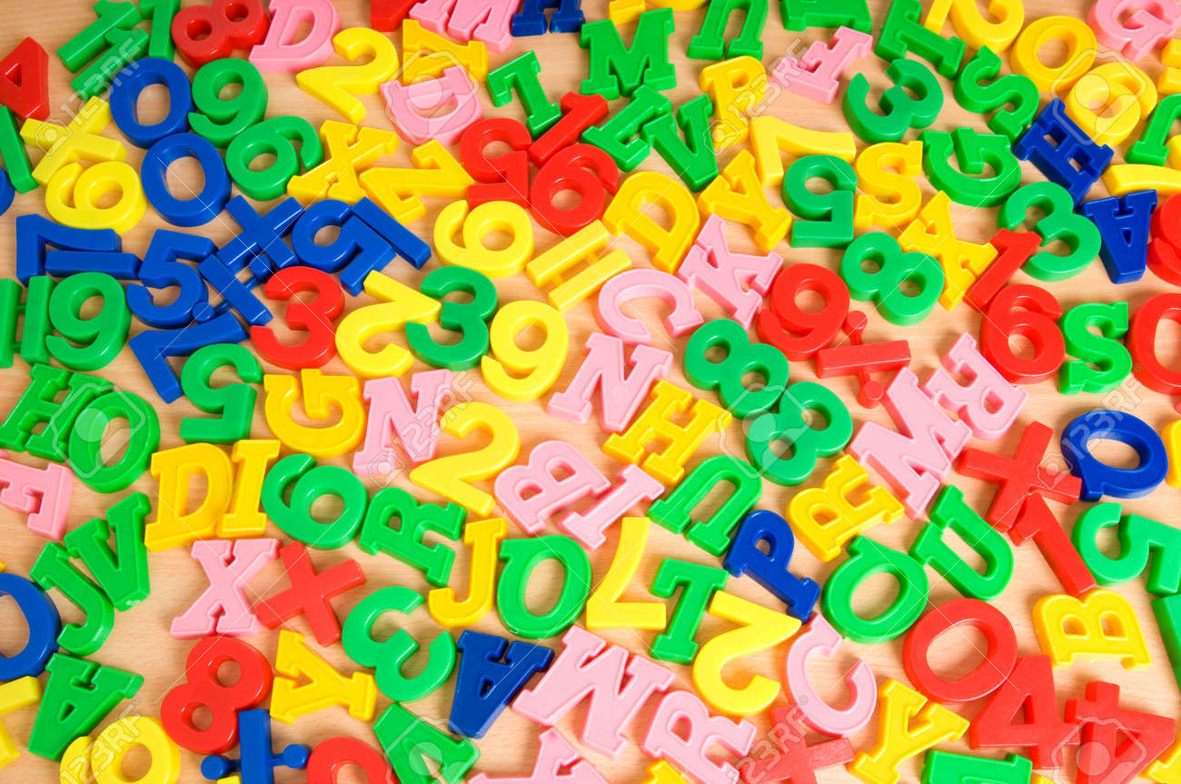 Children letters and digits on the table Stock Photo - 7666141