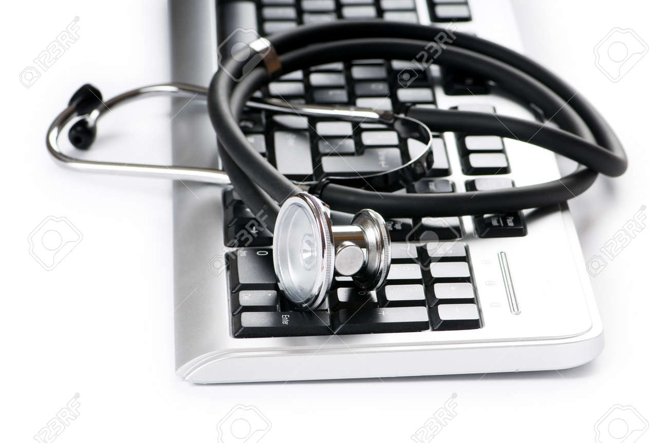 Stethoscope and keyboard illustrating concept of digital security Stock Photo - 8209048