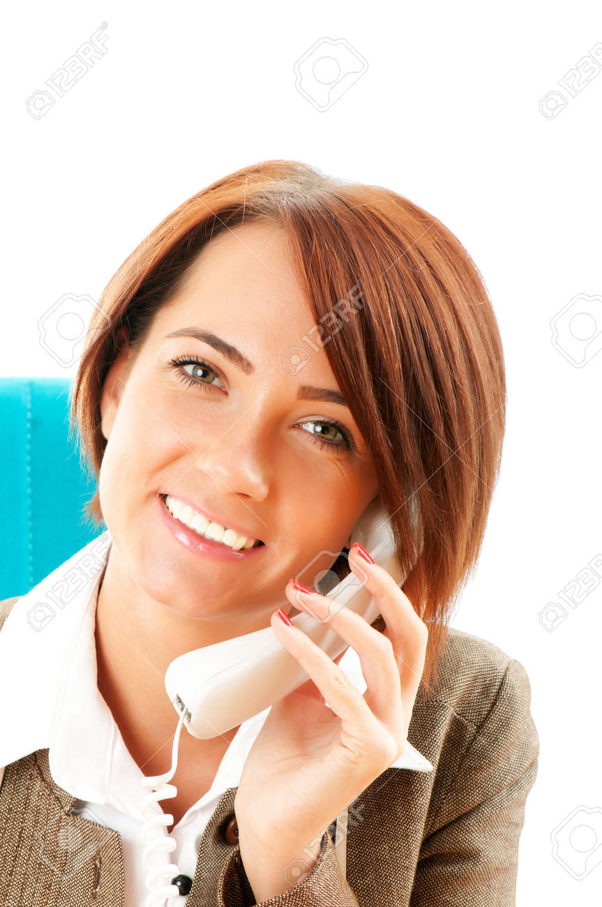 Young businesswoman talking on the phone Stock Photo - 8400398