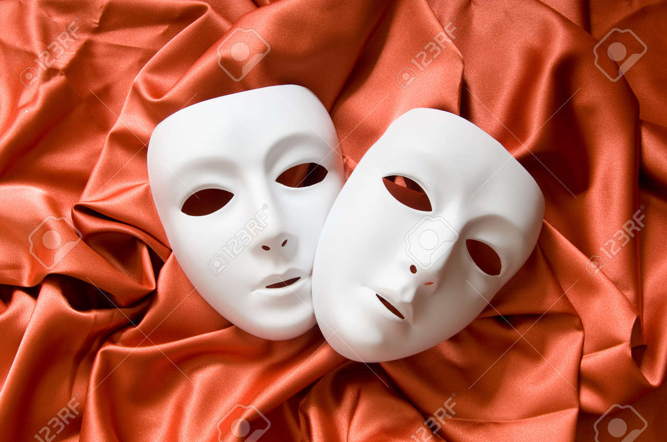 Theatre concept with the white plastic masks Stock Photo - 8460147