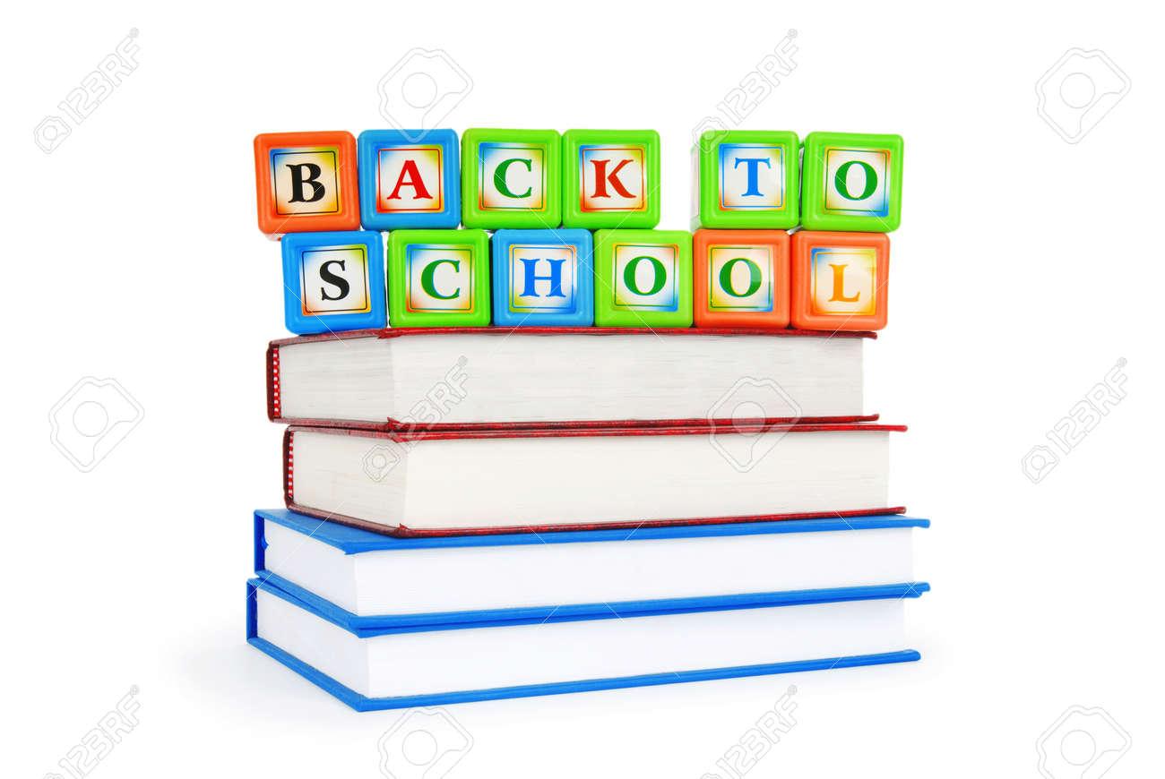Books and alphabet blocks isolated on white Stock Photo - 8459826