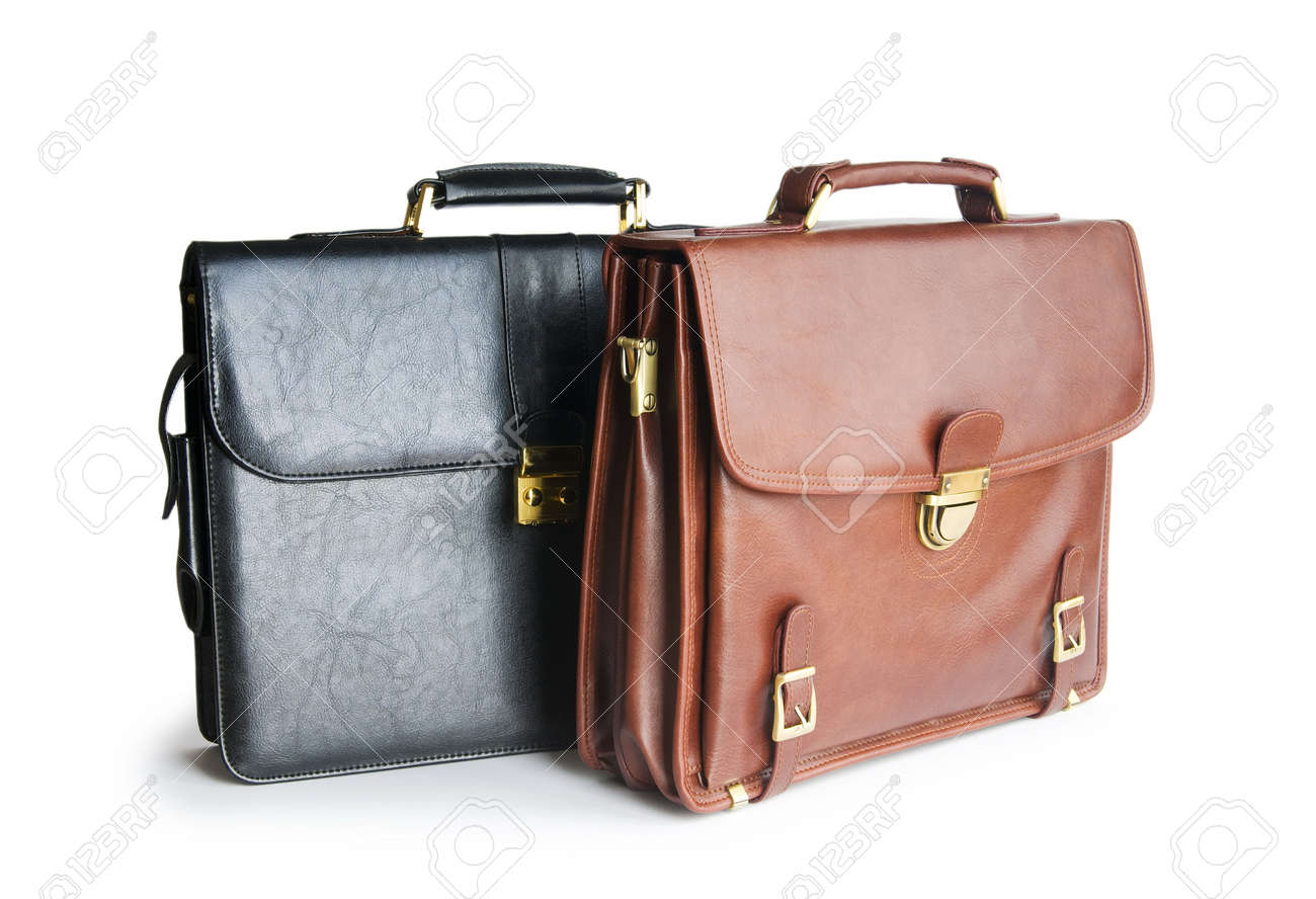 Two leather briefcases isolated on the white Stock Photo - 8460037