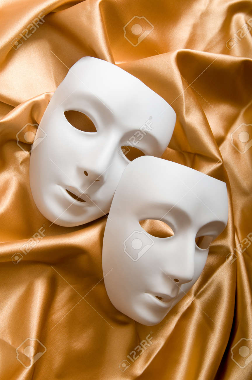 Theatre concept with the white plastic masks Stock Photo - 8616321