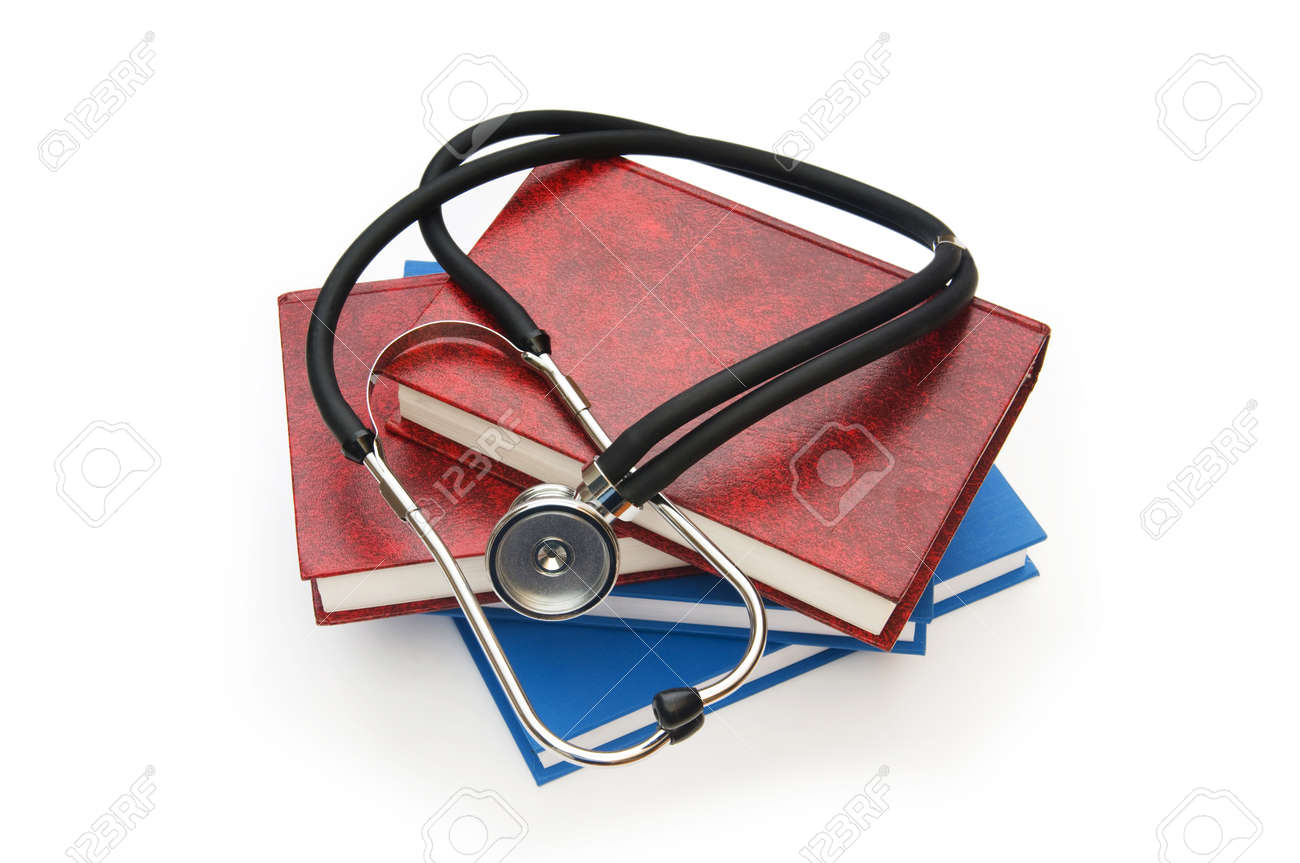 Concept of medical education with book and stethoscope Stock Photo - 8614959