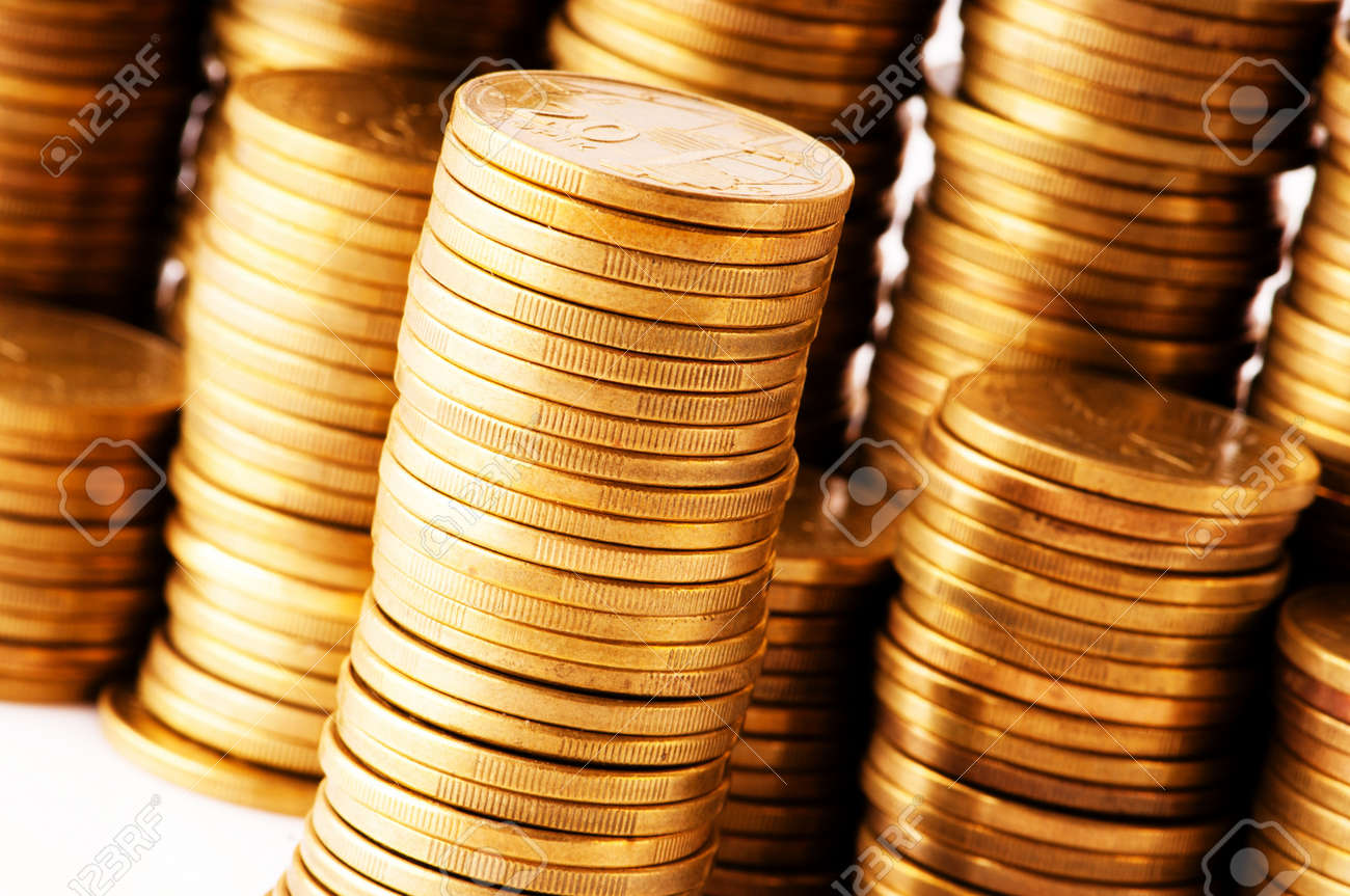 Close up of the golden coin stacks Stock Photo - 8616173