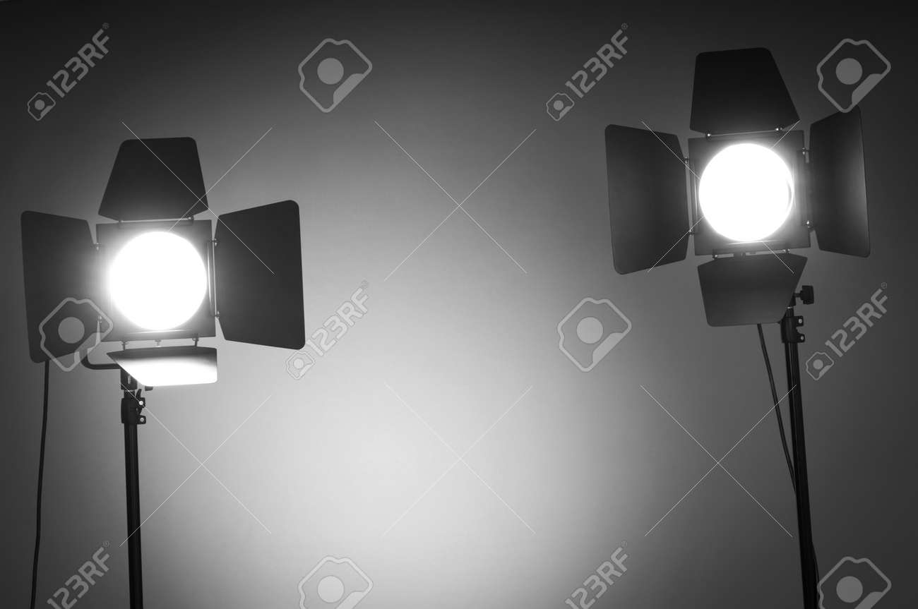 Two Barn Door Lights In Photo Studio Stock Photo Picture And