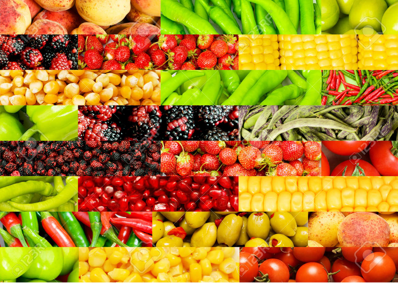 Collage of many different fruits and vegetables Stock Photo - 8943649
