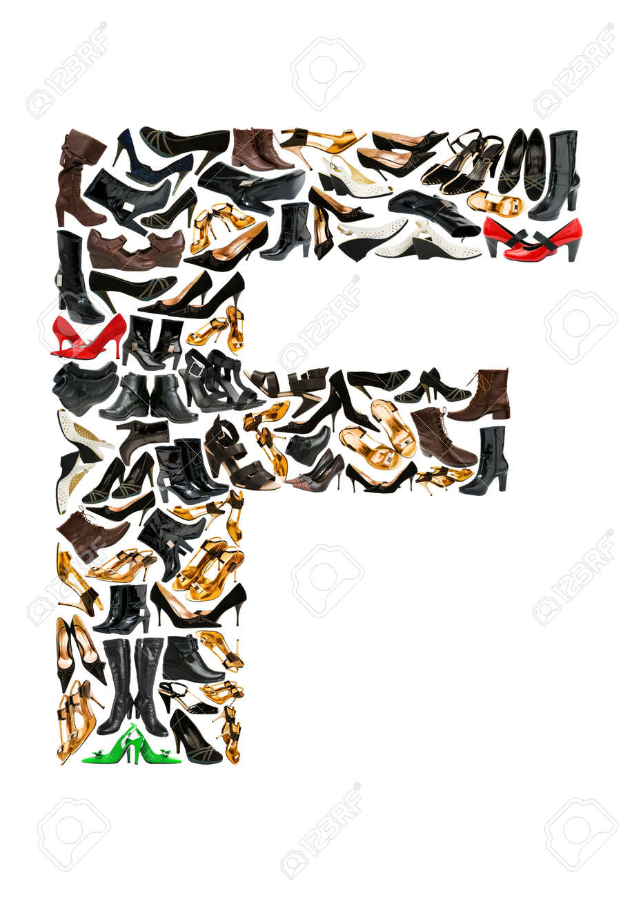 Font made of hundreds of shoes - Letter F Stock Photo - 8947541