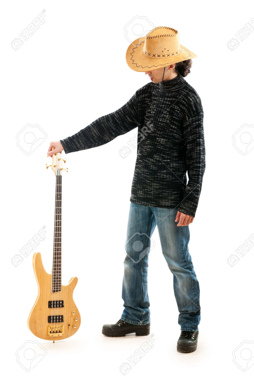 Guitar player isolated on the white background Stock Photo - 9432510