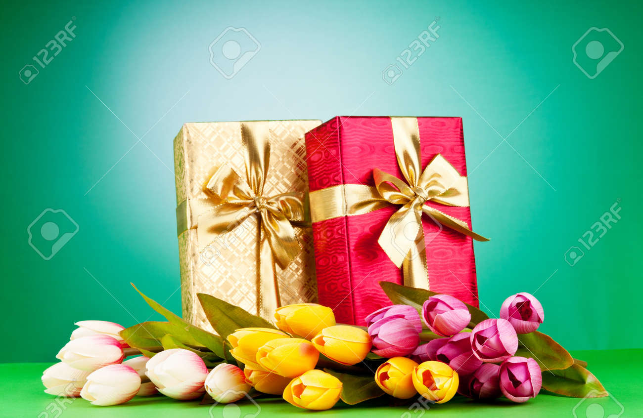 Celebration concept - gift box and tulip flowers Stock Photo - 9541436