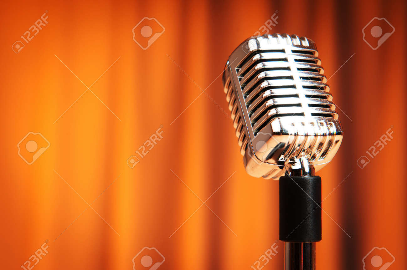 Audio microphone against the background Stock Photo - 9542152