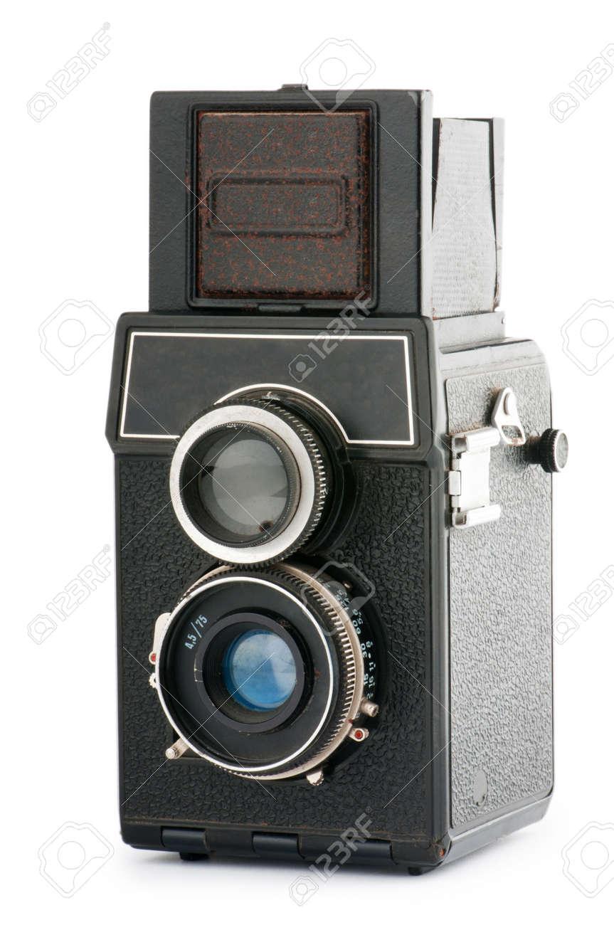 Vintage film camera isolated on white Stock Photo - 9548098