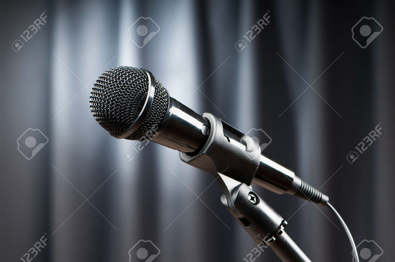 Audio microphone against the background Stock Photo - 9715706