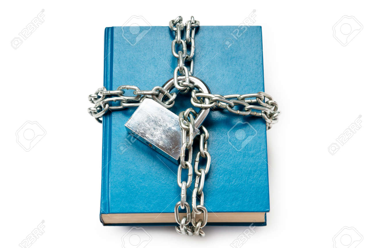 Censorship concept with books and chains on white Stock Photo - 9847605
